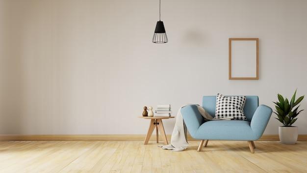 Wnętrze salonu z aksamitną niebieską kanapą, stołem. renderowanie 3d.