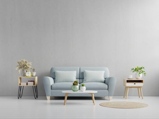 Wnętrze salonu z betonową ścianą, sofą i dekoracją, renderowanie 3d