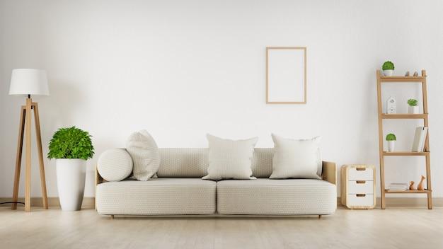 Wnętrze salonu z białą sofą. renderowanie 3d.
