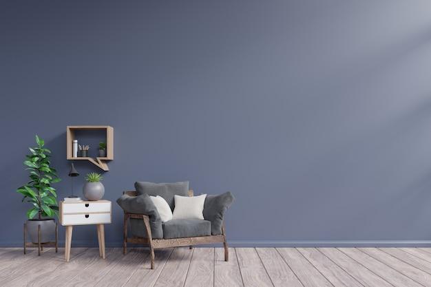 Wnętrze salonu z ciemnym fotelu, rośliny, lampa, szafki