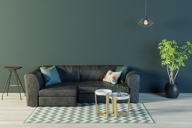 Wnętrze salonu z czarną skórzaną sofą