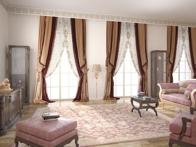 Wnętrze salonu z dekoracją