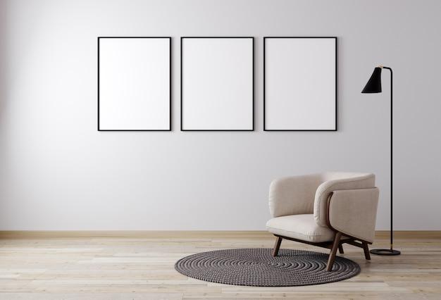 Wnętrze salonu z fotelem i rośliną, biała ściana makiety w tle, salon do makiety. renderowania 3d