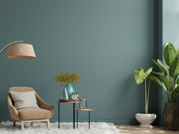 Wnętrze salonu z fotelem na pustej ciemnozielonej ścianie, renderowanie 3d