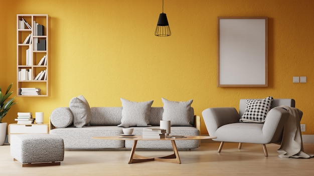 Wnętrze salonu z kolorową białą sofą