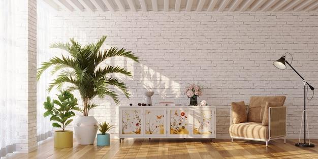 Wnętrze salonu z kredensem pomalowanym w kwiaty i roślinami renderowanymi 3d