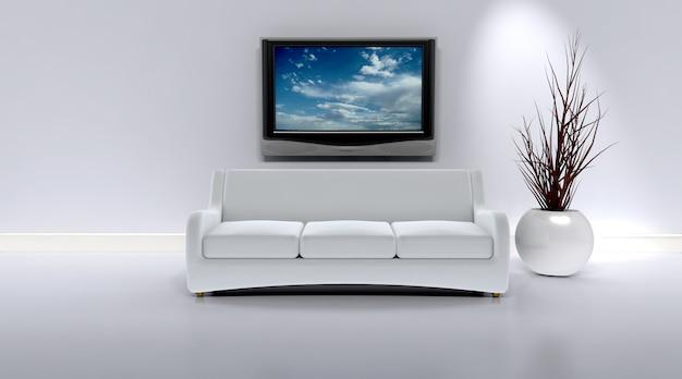 Wnętrze salonu z meblami i telewizorem