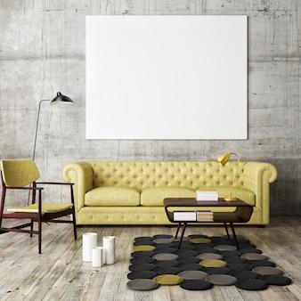 Wnętrze salonu z meblami, kanapą i pustą ramką na zdjęcia