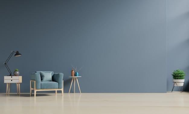 Wnętrze salonu z niebieskim aksamitnym fotelem i szafką, renderowanie 3d