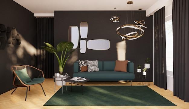 Wnętrze salonu z nowoczesnym wystrojem, renderowanie 3d