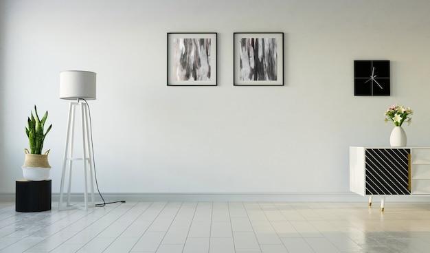 Wnętrze salonu z obrazami na tle szarej ściany, renderowania 3d
