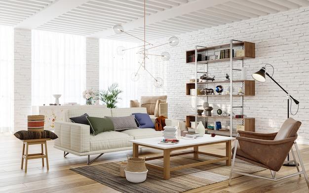 Wnętrze salonu z renderowanymi ścianami z cegły 3d