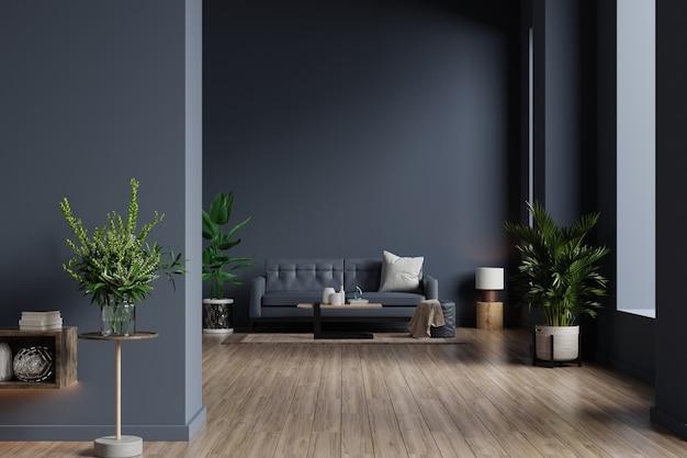 Wnętrze salonu z sofą na pustej ciemnoniebieskiej ścianie, renderowanie 3d