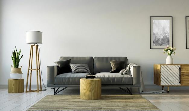 Wnętrze salonu z szarą sofą i drewnianym kredensem na szarej pustej ścianie, renderowanie 3d