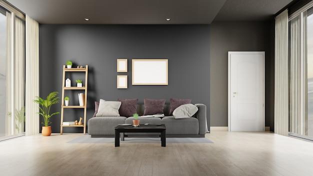 Wnętrze salonu z szarą sofą. renderowanie 3d.