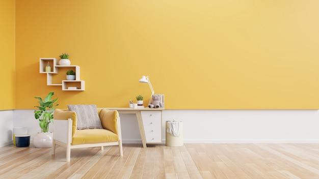 Wnętrze salonu z tkaninowym fotelem, lampą, książką i roślinami na pustej żółtej ścianie.