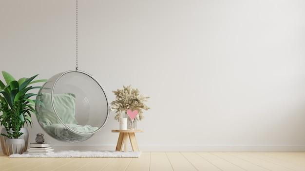 Wnętrze salonu z wygodnym wiszącym fotelem na pustej białej ścianie. renderowania 3d