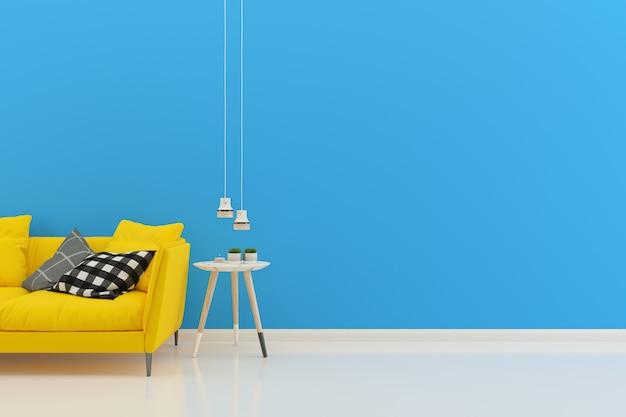 Wnętrze salonu żółty sofa nowoczesny styl niebieska ściana drewniana podłoga makieta stół
