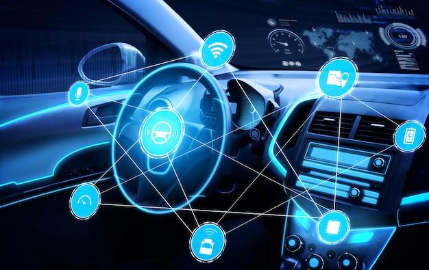 Wnętrze samochodu bez kierowcy z futurystyczną deską rozdzielczą do autonomicznego systemu sterowania