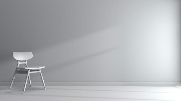 Wnętrze ściana salonu białe krzesło podłogowe lekki szablon