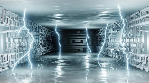 Wnętrze science fiction. nowoczesny design. jasne neonowe błyski elektryczności, błyskawica. renderowanie 3d