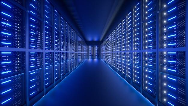 Wnętrze serwerowni w centrum danych. renderowanie 3d