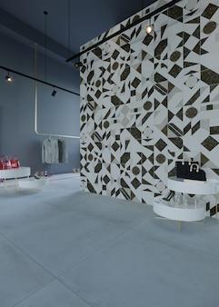 Wnętrze sklepu z projektami ścian i podłóg