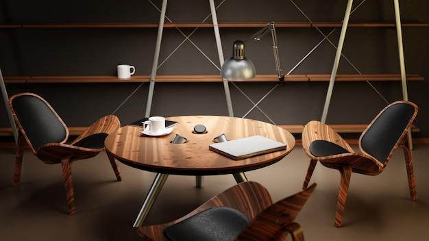Wnętrze słabo oświetlonego pokoju z trzema krzesłami i stołem jest wykonane w nowoczesnym stylu biznesowym.