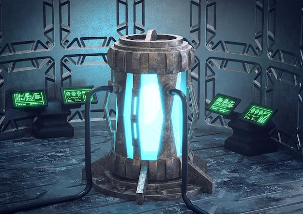 Wnętrze statku kosmicznego i stacji kosmicznej, sterownia reaktorem mocy