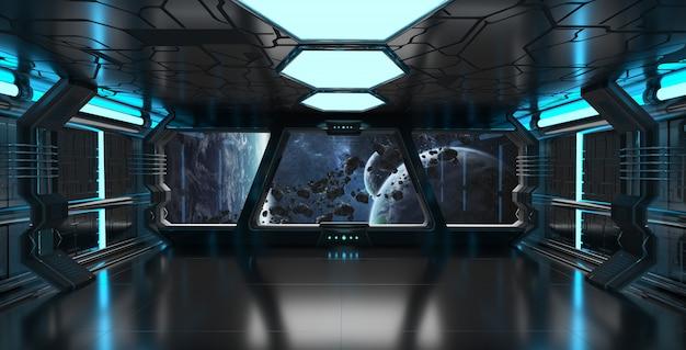 Wnętrze statku kosmicznego z widokiem na system odległych planet elementy renderowania 3d tego obrazu dostarczone przez nasa
