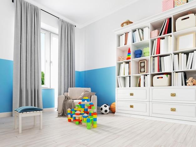 Wnętrze sypialni chłopca z białą ścianą, jak łóżko, szafka, plakat w ramce i zabawki. renderowanie 3d