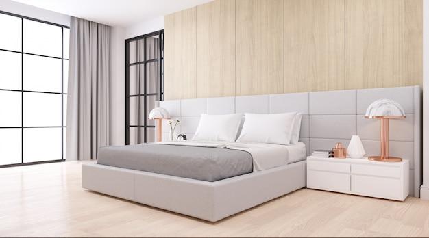 Wnętrze sypialni dssign w nowoczesnym minimalistycznym stylu. przytulny biały pokój i proste wygody