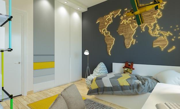Wnętrze sypialni dziecięcej w nowoczesnym stylu.