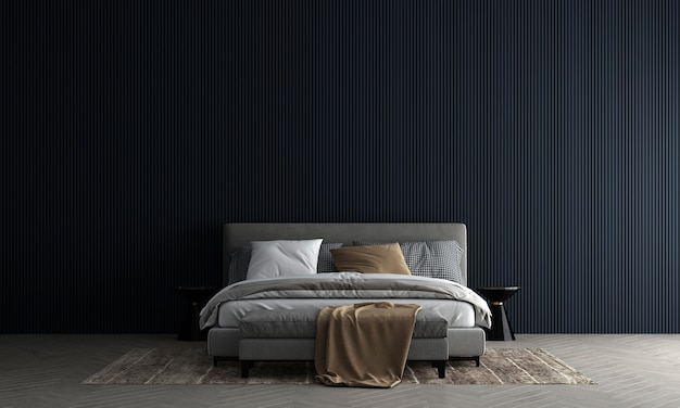 Wnętrze sypialni makieta w ciepłych neutralnych kolorach z przytulną dekoracją w stylu na pustym niebieskim tle ściany