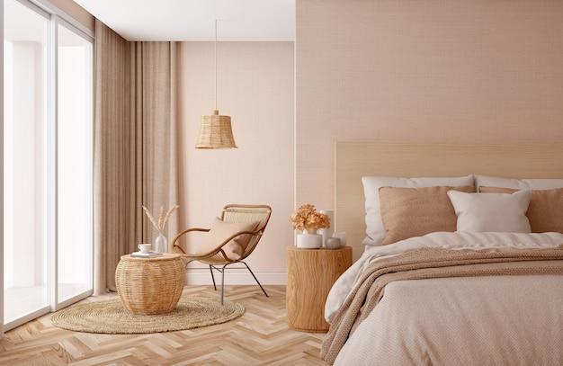 Wnętrze sypialni. projekt w odcieniach beżu.