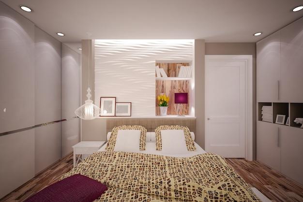 Wnętrze sypialni w nowoczesnym stylu. projektowanie wnętrz