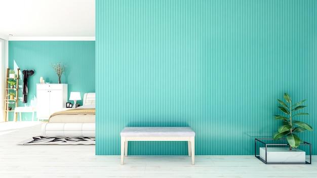 Wnętrze sypialni w stylu nordyckim z dużą pustą ścianą i przestrzenią do kopiowania