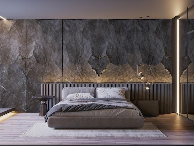 Wnętrze sypialni z czarną kamienną lampą ścienną i drewnianą podłogą