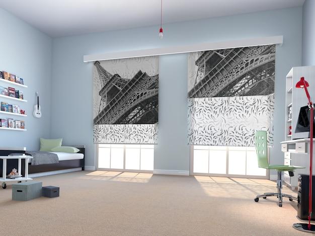 Wnętrze sypialni z dekoracją