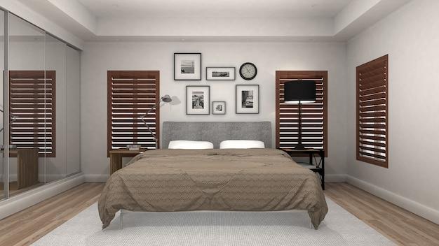 Wnętrze sypialni z drewnianą podłogą w nowoczesnym i luksusowym stylu