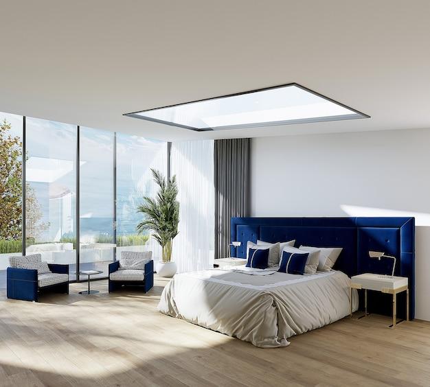 Wnętrze sypialni z łóżkiem i fotelami, gratis