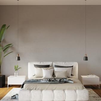 Wnętrze sypialni z łóżkiem, miękkie poduszki przed szarą ścianą, render 3d, makieta sypialni, makieta ramy,