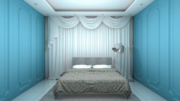 Wnętrze sypialni z niebieskimi ścianami w stylu klasycznym i luksusowym