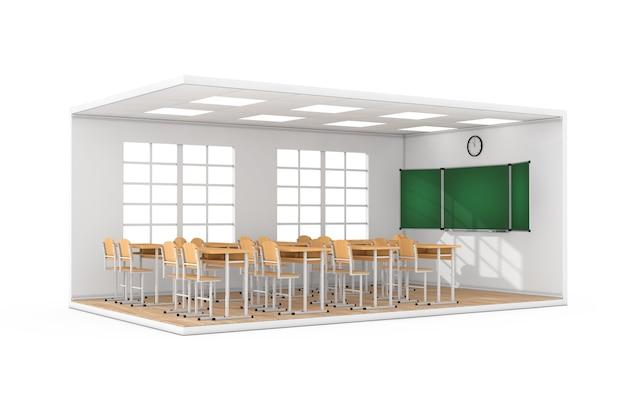 Wnętrze szkolnej klasy z dużym oknem, biurkami szkolnymi, krzesłami, tablicą i parkietem drewnianym na białym tle. renderowanie 3d