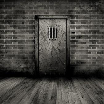 Wnętrze w stylu grunge z drzwiami więzienia