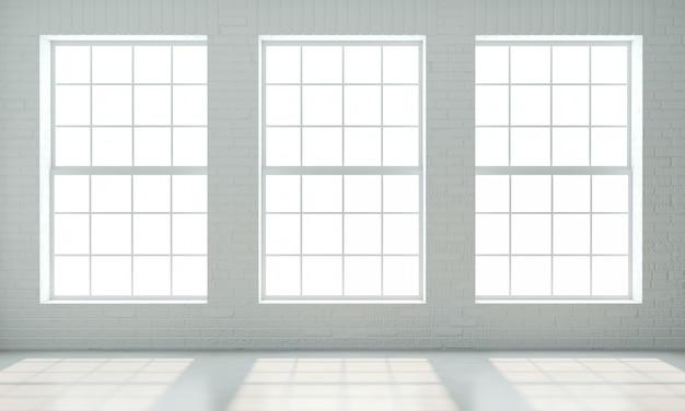 Wnętrze w stylu loftu z białymi oknami