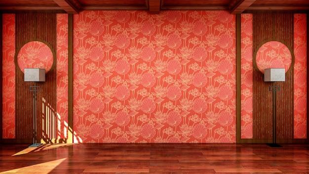 Wnętrze w tradycyjnym chińskim stylu pustej przestrzeni otwartej przestrzeni z drewnianą podłogą
