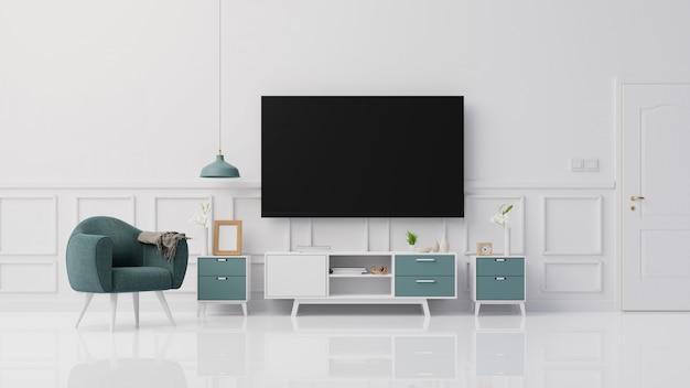 Wnętrze wyśmiewa w górę żywego pokoju z kolorowym białym karła renderingiem 3d