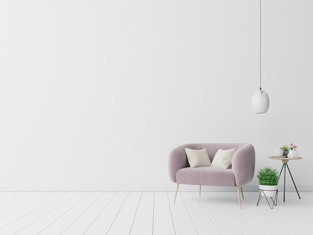 Wnętrze z aksamitnym fotelem na pustej białej ścianie