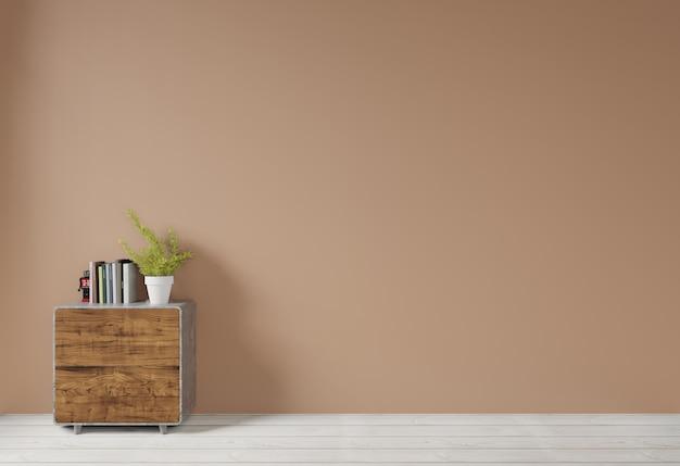 Wnętrze z brąz ściany i drewna strony stołu kredensu pustym tłem dla kopii przestrzeni, 3d rendering